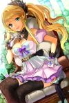 bare_shoulders belt bird_on_hand black_legwear blonde_hair blue_eyes breasts chair cleavage cross crossed_legs ddongu detached_collar detached_sleeves dutch_angle floral_print gloves hand_on_hip highres layered_skirt long_hair lowres pleated_skirt ponytail print_legwear sitting skirt smile solo striped sword_girls thigh-highs thighhighs very_long_hair wavy_hair