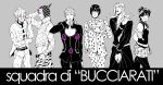 1girl 5boys blood blood_in_mouth bob_cut bruno_bucciarati giorno_giovanna guido_mista gun hat jojo_no_kimyou_na_bouken knife ladybug leone_abbachio midriff multiple_boys narancia_ghirga pannacotta_fugo short_hair spot_color trish_una weapon yukimune1776