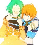 1girl blue_eyes couple dress farah_oersted gloves green_hair grin happy hug hug_from_behind orange_hair rid_hershel short_hair smile tales_of_(series) tales_of_eternia tama_._kogifu