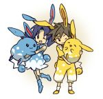 1girl :3 ;) ^_^ alternate_color alternate_costume azumarill black_hair blue_hair bukiko chibi closed_eyes crystal_(pokemon) dress eyes_closed gold_(pokemon) lowres pokemon pokemon_(game) pokemon_gsc shiny_pokemon smile twintails wink