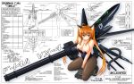 ahoge animal_ears arm_cannon blueprint breasts brown_hair brown_legwear bunnysuit cat_ears cat_paws cat_tail cleavage copyright_request english f-14 gatling_gun green_eyes gun highres kneeling long_hair mecha_musume pantyhose paws payot personification smile solo stockings tail text twintails weapon wings yae_nagi