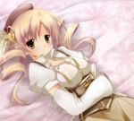 beret blonde_hair breasts cleavage corset detached_sleeves drill_hair hair_ornament hat large_breasts magical_girl mahou_shoujo_madoka_magica nanoha-h on_bed pleated_skirt puffy_sleeves skirt solo tomoe_mami yellow_eyes