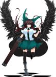 arm_cannon black_legwear black_wings blush bow breasts brown_hair cape green_eyes hair_bow highres long_hair reiuji_utsuho rihito_(usazukin) skirt smile solo thigh-highs thighhighs third_eye touhou weapon wings