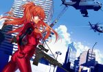 assault_rifle blue_eyes blue_sky breasts building city_skyline cloud clouds crane gun hair_ornament hand_on_hip helicopter hullabaloo long_hair neon_genesis_evangelion plugsuit red_hair redhead rifle shikinami_asuka_langley sky skyscraper smile solo soryu_asuka_langley souryuu_asuka_langley traffic_light weapon