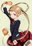 blonde_hair blue_eyes chuunibyou_demo_koi_ga_shitai! dekomori_sanae hair_weapon isasaka long_hair long_sleeves neck_ribbon plaid plaid_skirt ribbon school_uniform skirt smile solo spinning twintails twirling very_long_hair