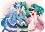 :o ^_^ aqua_hair bare_shoulders black_legwear blue_eyes blue_hair blue_legwear blush boots bow cherry closed_eyes detached_sleeves eyes_closed food fruit hachune_miku hair_bow hair_ornament hand_on_headphones hatsune_miku holding leek leg_up long_hair masami_chie minigirl multiple_girls o_o pink_hair sakura_miku skirt spring_onion tears thigh-highs thigh_boots thighhighs twintails very_long_hair vocaloid yuki_miku