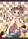 :o blonde_hair blush bow candy checkered checkered_background chocolate flandre_scarlet hat hat_bow highres kazura letter lollipop looking_at_viewer panties red_eyes revision scales sitting skirt slice_of_cake socks solo speech_bubble spoken_blush star swirl_lollipop table touhou underwear white_panties wings