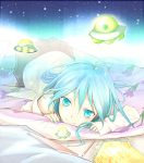 antenna_hair blue_eyes blue_hair denpa_onna_to_seishun_otoko long_hair looking_at_viewer lying nail_polish ocosato on_stomach pencil skirt smile solo touwa_erio ufo