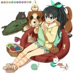 :d ball_of_yarn black_hair blue_eyes blush bunny cat collarbone crocodile crocodilian dog ganaha_hibiki hair_ribbon hamster hamuzou idolmaster inumi knitting long_hair minazuki_randoseru open_mouth pig ponytail rabbit ribbon side_ponytail sitting skirt smile solo striped yarnball