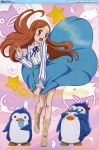 absurdres bird blush boots bow brown_hair dress embarrassed highres incredibly_absurdres long_hair mawaru_penguindrum penguin penguin_1-gou penguin_2-gou penguin_3-gou popsicle purple_eyes saliva sonobe_aiko star takakura_himari violet_eyes wind_lift