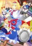 alice_margatroid apron ass back blonde_hair blue_eyes blush book boots bow breasts brests capelet doll dress dual_wielding fingerless_gloves gloves goliath_doll hair_bow hairband kamitsuki_shion lance long_hair open_mouth polearm ribbon sash shanghai shanghai_doll shield short_hair smile string sword touhou weapon