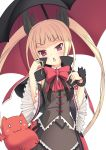 >:o blazblue blonde_hair blush chestnut_mouth dress familiar frills gii gothic_lolita hair_ribbon lolita_fashion long_hair open_mouth rachel_alucard red_eyes ribbon solo twintails umbrella yuntea