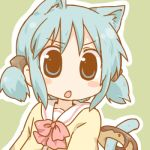 >:o animal_ears aqua_eyes aqua_hair blush_stickers cat_ears cat_tail daitirumoesu doughnut face hair_cubes hair_ornament kemonomimi_mode lowres naganohara_mio nichijou payot school_uniform short_twintails solo tail twintails