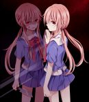 blood_on_face bow dark_background dark_persona dual_persona gasai_yuno hair_bow knife kouko looking_at_viewer looking_back low_twintails mirai_nikki mirror mirror_opposites payot pink_hair red_eyes skirt standing