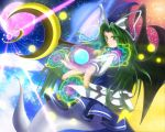 1girl beam crescent demon_wings earth ghost_tail green_eyes green_hair hair_in_mouth hat hat_ribbon kuon_no_rakuen light_particles long_hair looking_away magic_circle mima moon open_hand outstretched_arm pentagram red_moon ribbon skirt skirt_set smile solo space staff touhou touhou_(pc-98) wings wizard_hat