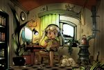 azito7 barefoot blonde_hair book cat child computer long_hair monitor oekaki_musume original pen room solo twintails
