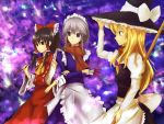 3girls blue_eyes broom brown_eyes brown_hair cala_(artist) hair_ribbon hair_tubes hakurei_reimu hat izayoi_sakuya kirisame_marisa maid_apron maid_headdress multiple_girls ribbon silver_hair touhou witch_hat yellow_eyes