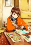book braid brown_eyes brown_hair cat cup hirokazu oekaki_musume original paintbrush palette solo