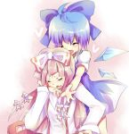 ahoge bad_id blue_hair bow cirno fujiwara_no_mokou hair_bow long_hair multiple_girls rarami silver_hair touhou wings