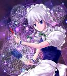 1girl blue_eyes braid cala_(artist) hair_ribbon izayoi_sakuya knife magic_circle maid_apron maid_headdress ribbon silver_hair solo touhou twin_braids wrist_cuffs