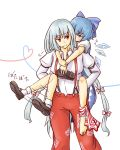 abarenbou_jieneraru bad_feet barefoot blue_eyes blue_hair carrying cirno fujiwara_no_mokou hair_ribbon heart heart_of_string ice long_hair multiple_girls no_nose red_eyes ribbon shirt shoes single_shoe smile socks suspenders touhou white_shirt wings