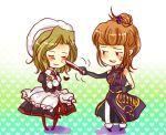 closed_eyes dress fan maid orange_hair poke poking serie shannon short_hair smile thigh-highs thighhighs umineko_no_naku_koro_ni ushiromiya_eva