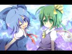 bad_id blue_eyes blue_hair bow cirno daiyousei green_eyes green_hair hair_bow multiple_girls open_mouth rarami side_ponytail touhou wings wink