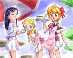 3girls arm_warmers artist_request bare_shoulders blonde_hair blue_hair braid closed_eyes dress futari_wa_precure futari_wa_precure_max_heart gloves hair_ornament hairclip happy heart kujou_hikari long_hair looking_at_viewer lowres maid misumi_nagisa multiple_girls open_mouth orange_eyes orange_hair precure ribbon short_hair side_braid skirt smile white_gloves yukishiro_honoka