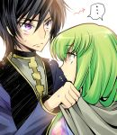 black_hair blush c.c. code_geass creayus green_hair lelouch_lamperouge long_hair purple_eyes sweat violet_eyes yellow_eyes