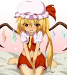 bare_legs barefoot between_breasts blonde_hair blush clothes_between_breasts dr._cryptoso fangs flandre_scarlet hat hat_ribbon highres midriff navel open_mouth red_eyes revision ribbon shirt side_ponytail sitting skirt skirt_set slit_pupils smile solo touhou v_arms wariza wings