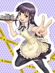 armpits badge black_legwear caution_tape dishes foreshortening hands long_hair polka_dot polka_dot_background purple_eyes purple_hair revision smile solo thigh-highs thighhighs tray tsurime v violet_eyes waitress working!! yamada_aoi yoshikawa_kazunori zettai_ryouiki