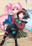 amami_reiko argyle argyle_background bed bishoujo_senshi_sailor_moon black_hair black_legwear blue_dress bow chibi_usa double_bun dress green_dress highres mouth_hold multiple_girls pantyhose pillow pink_eyes pink_hair plaid plaid_skirt purple_eyes ribbon school_uniform sepia_background serafuku short_hair skirt tomoe_hotaru twintails violet_eyes