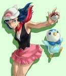 blue blue_eyes blue_hair cap hat highres hikari_(pokemon) open_mouth piplup poke_ball pokeball pokemon scarf skirt smile turizao