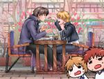 3boys =_= cake chibi_inset emiya_shirou fang fate/stay_night fate_(series) feeding food gilgamesh glass heart kotomine_kirei mapo_doufu multiple_boys open_mouth saber smile sparkle spoon straw sweat