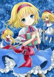 alice_margatroid black_legwear blonde_hair blue_background blue_eyes book bow capelet doll dress frills hair_bow hairband millipen_(medium) ouo_ouo pantyhose ribbon sabre sash shanghai shanghai_doll short_hair smile touhou traditional_media watercolor_(medium) weapon