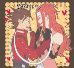 blue_eyes brown_eyes brown_hair elbow_gloves eye_contact gloves headband heart lloyd_irving long_hair looking_at_another male multiple_boys open_mouth profile red_hair redhead sewenan tales_of_(series) tales_of_symphonia teeth zelos_wilder