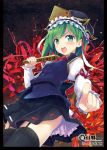>:o black_legwear blush flower garter_straps green_eyes green_hair hat highres long_sleeves looking_at_viewer minamura_haruki open_mouth pointing pointing_at_viewer rod_of_remorse shikieiki_yamaxanadu short_hair skirt solo spider_lily thigh-highs thighhighs touhou
