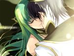 black_hair c.c. closed_eyes code_geass creayus eyes_closed green_hair kiss lelouch_lamperouge long_hair tears