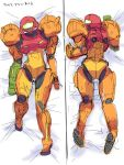 ario arm_cannon armor bed bed_sheet dakimakura female helmet lying metroid on_back samus_aran sketch solo translated weapon