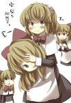 alice_margatroid blonde_hair blue_eyes blush bow capelet cosplay flat_gaze gaoo_(frpjx283) hair_bow headdress highres long_hair shanghai shanghai_doll shanghai_doll_(cosplay) short_hair skirt smile touhou