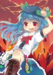 :d acidear arm_up blue_hair blush bow food fruit hat highres hinanawi_tenshi long_hair open_mouth peach red_eyes red_sky skirt sky smile solo touhou