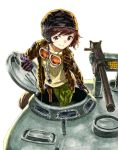 akiyama_yukari brown_eyes brown_hair cosplay dog_tags girls_und_panzer gloves goggles gun helmet highres holster iron_cross jacket kelly's_heroes kelly's_heroes m1919 m4_sherman machine_gun medal microphone military military_uniform military_vehicle missacula sergeant_oddball short_hair smile tank uniform vehicle weapon