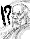 1boy bald beard facial_hair gouken kimuchi long_hair monochrome old_man scar sketch solo street_fighter street_fighter_iv sweatdrop