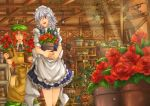 apron blue_dress blue_eyes boots braid carrying dress flower green_dress hair_ribbon hat hong_meiling izayoi_sakuya lamp long_hair maid maid_headdress multiple_girls open_mouth plant potted_plant red_hair red_rose redhead ribbon rose shelf shirt short_hair shovel silver_hair star sunlight touhou twin_braids vest waist_apron watering_can worktool yagimiwa