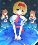 alice_margatroid between_legs blonde_hair blue_eyes blush bob_cut bow capelet dress hair_bow hairband hand_between_legs long_hair magic_circle mifune_yatsune scarf shanghai shanghai_doll short_hair sitting smile solo touhou