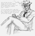 1boy alien bb_(baalbuddy) cigarette crossed_legs detective drink english fedora formal garrus_vakarian gloves hat mass_effect monochrome necktie parody scouter sitting smoking solo suit text turian
