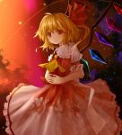 :o blonde_hair blush bunchou_(bunchou3103) dress flandre_scarlet no_hat no_headwear red_eyes red_sky side_ponytail sky solo touhou wings