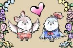 animalization beak bird bow brown_background flower fujiwara_no_mokou fujiwara_no_mokou_(phoenix) hair_bow hat heart kamishirasawa_keine komaku_juushoku multiple_girls ookami_(game) parody simple_background sparrow style_parody suspenders touhou wings