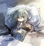 bed book final_fantasy final_fantasy_xi fujiwara_akina green_hair pointy_ears short_hair tarutaru violet_eyes