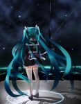 aqua_hair from_behind h016 hatsune_miku high_heels long_hair shoes sky solo star_(sky) starry_sky thigh-highs thighhighs twintails very_long_hair vocaloid